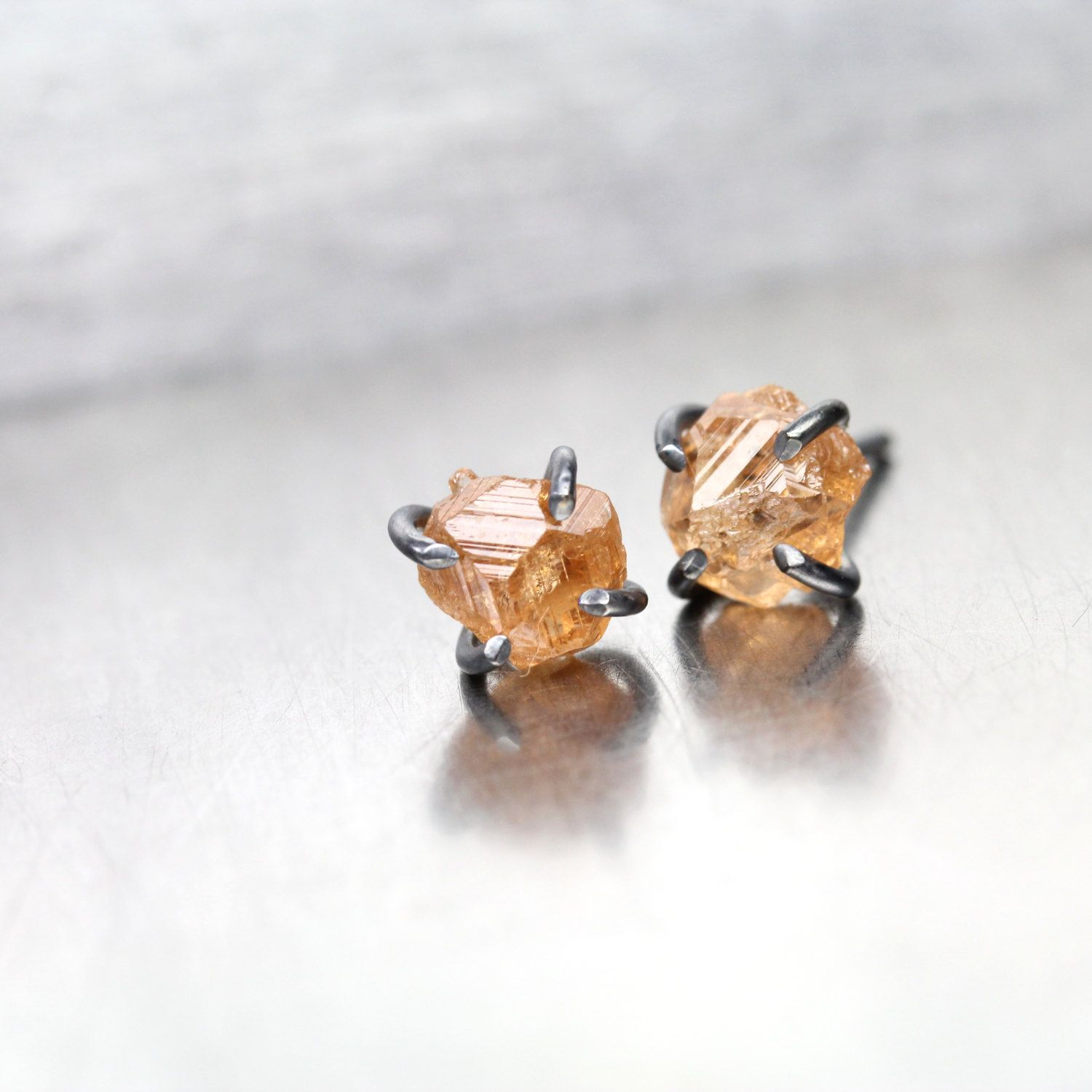 Rough Peach Grossular Garnet Stud Earrings Oxidized Silver Gs Rustic Gemstones Quebec Canada January Birthstone Brown Orange Goldrocks