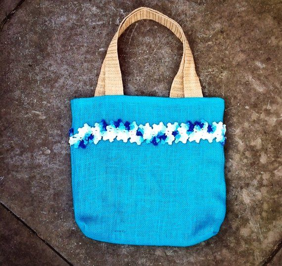 Unique Tote Handmade Bag blue (teal) burlap summer bag with crochet garland of flowers applique #garlandofflowers