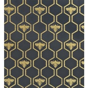 Honey Bees Wallpaper By Barnbey Gates An Impressive In Charcoal With A Honeycombe And Bee Design Gold