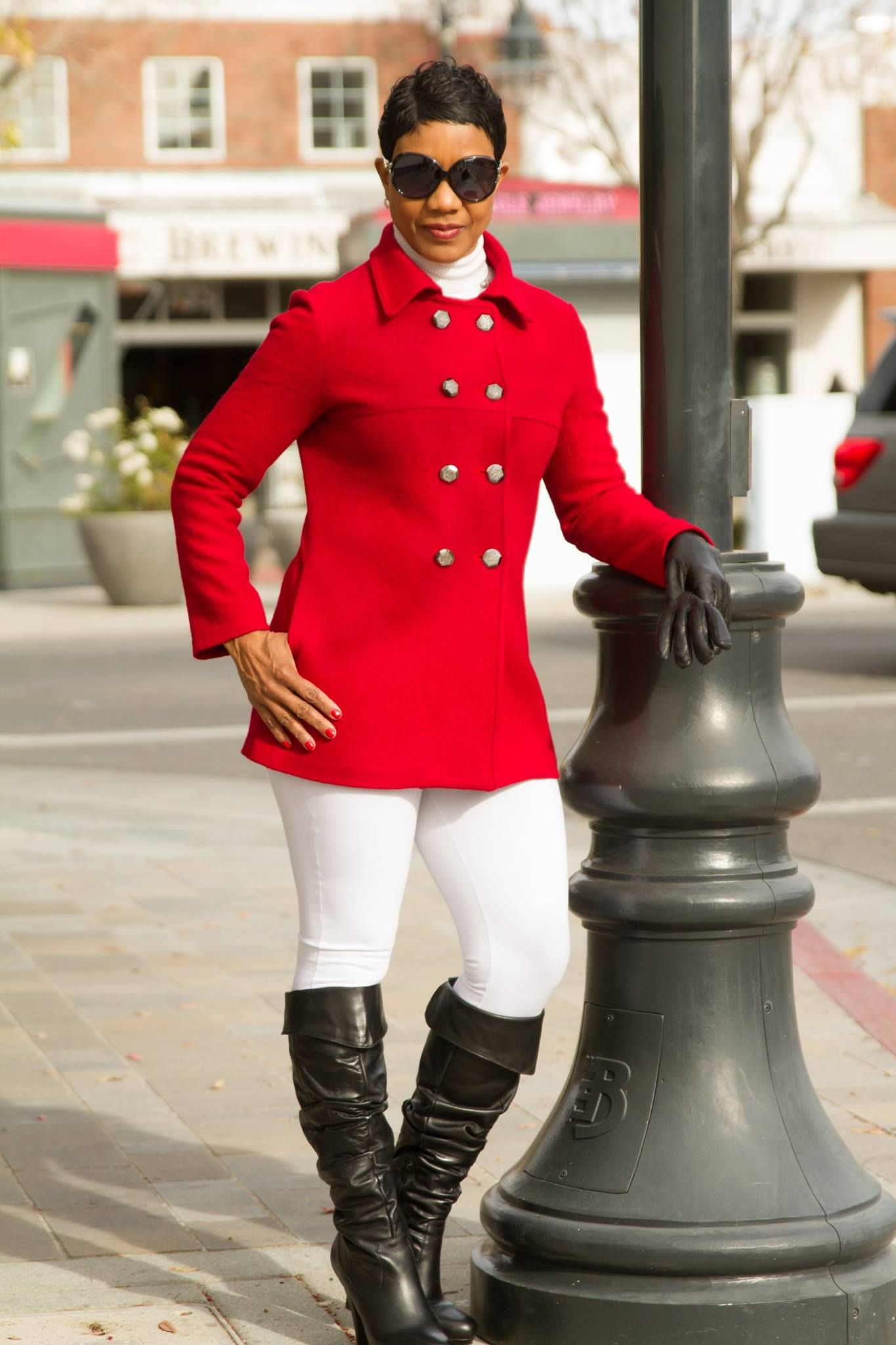 Red Peacoat Vogue 8884 @ red