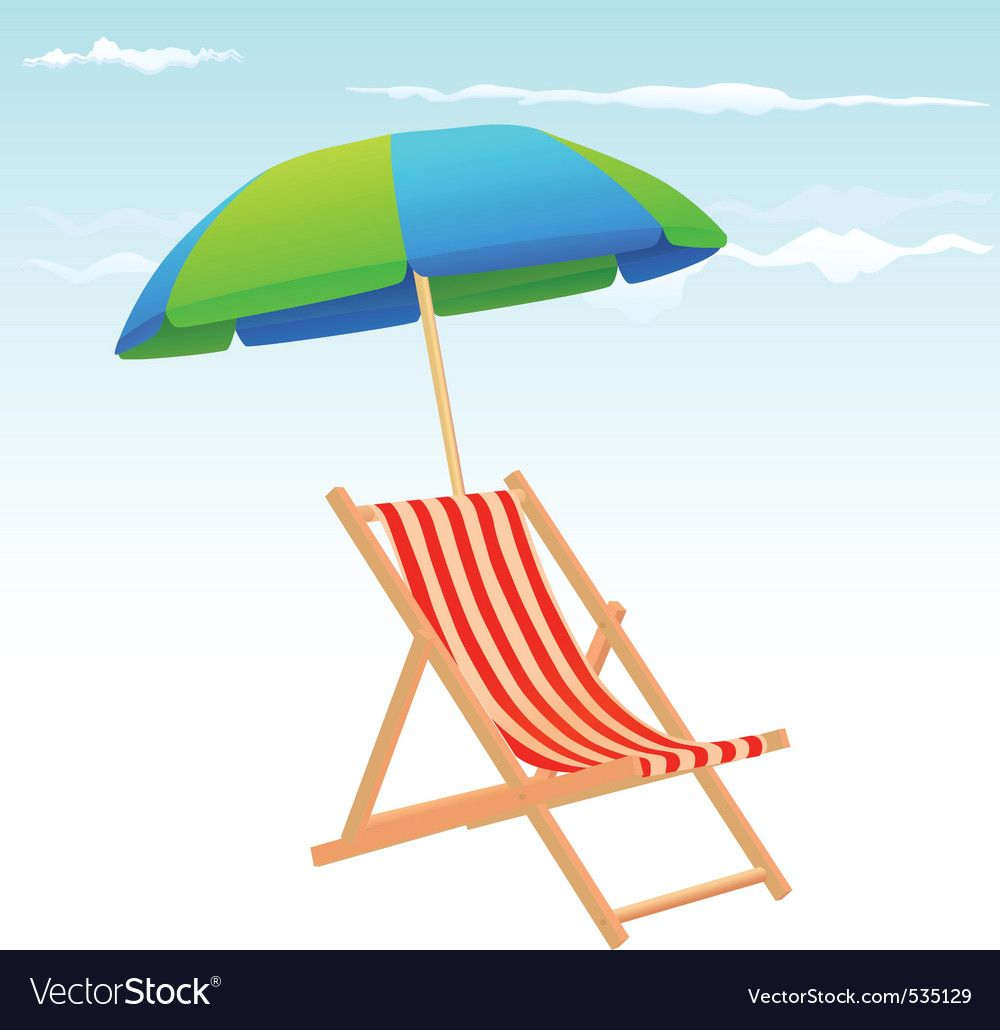 Beach chairs and umbrella vector image on vectorstock