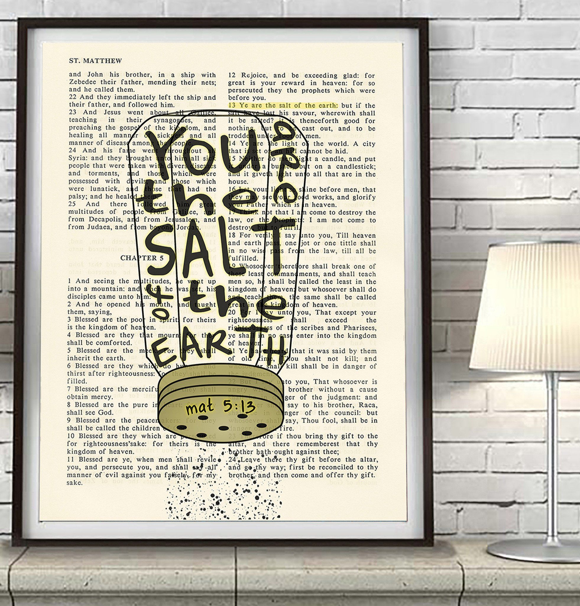 You Are The Salt Of The Earth Matthew 5 13 Bible Art