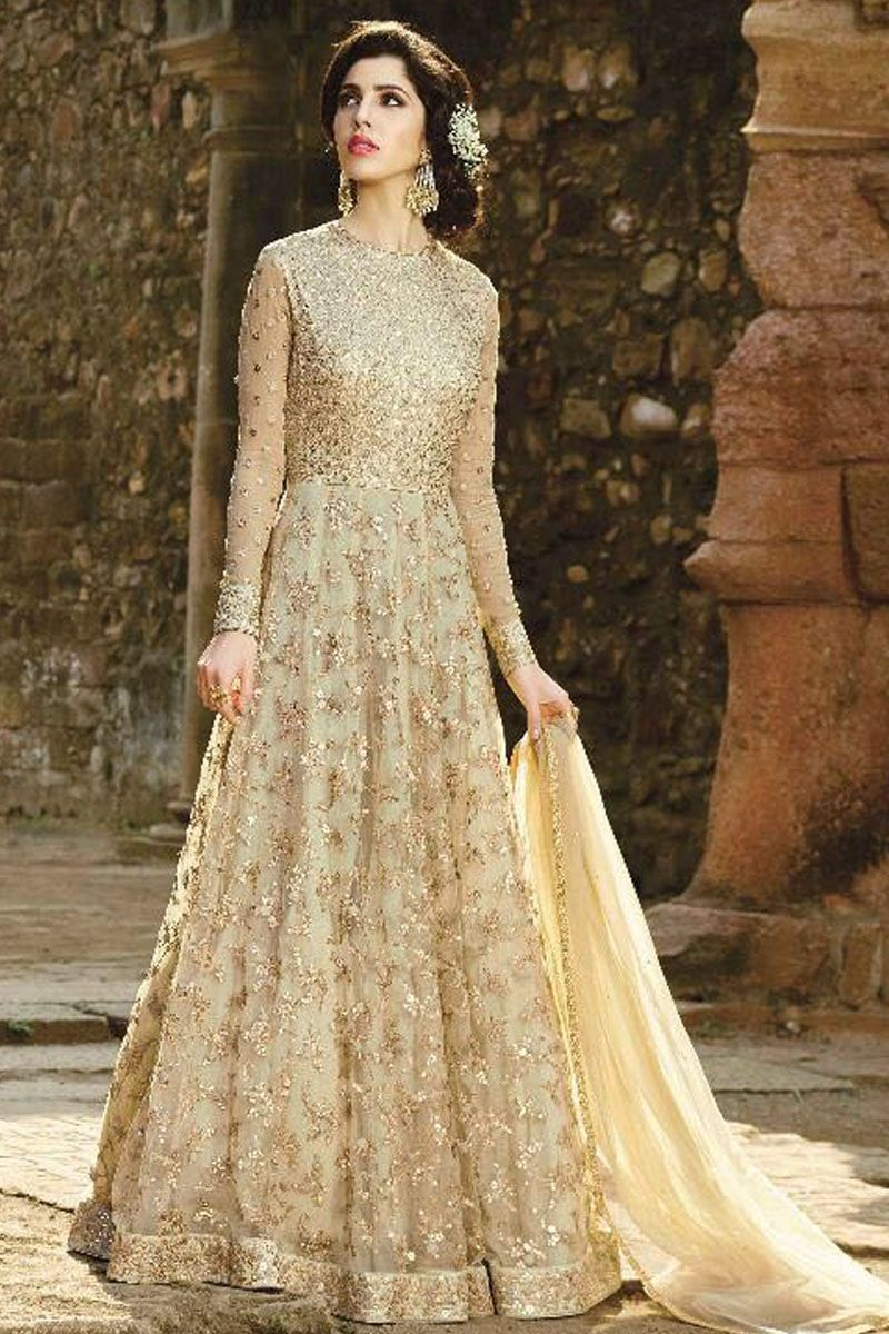 5db3c898f8 Beige Color Beautiful Embroidery Work Party Wear Latest Designer Fetival  Wear Attractive Look Indian Bride Style Designer Anarkali Suit  #anarkalisuit #bela ...