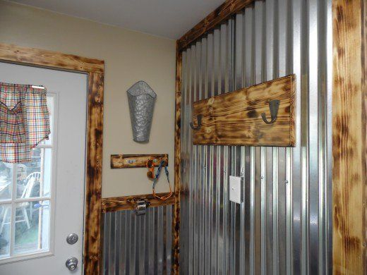 Burned Wood Finish With Tin Accent Walls Wood