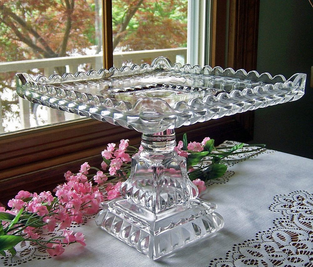 Eapg Antique Glass Pedestal Cake Stand Plate Square Crystal