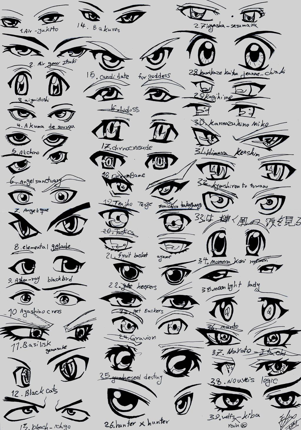 39 male anime eyes by How to