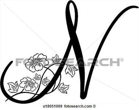 Alfabeto Capital Lettered Monogram N Script Ampliar Grfico
