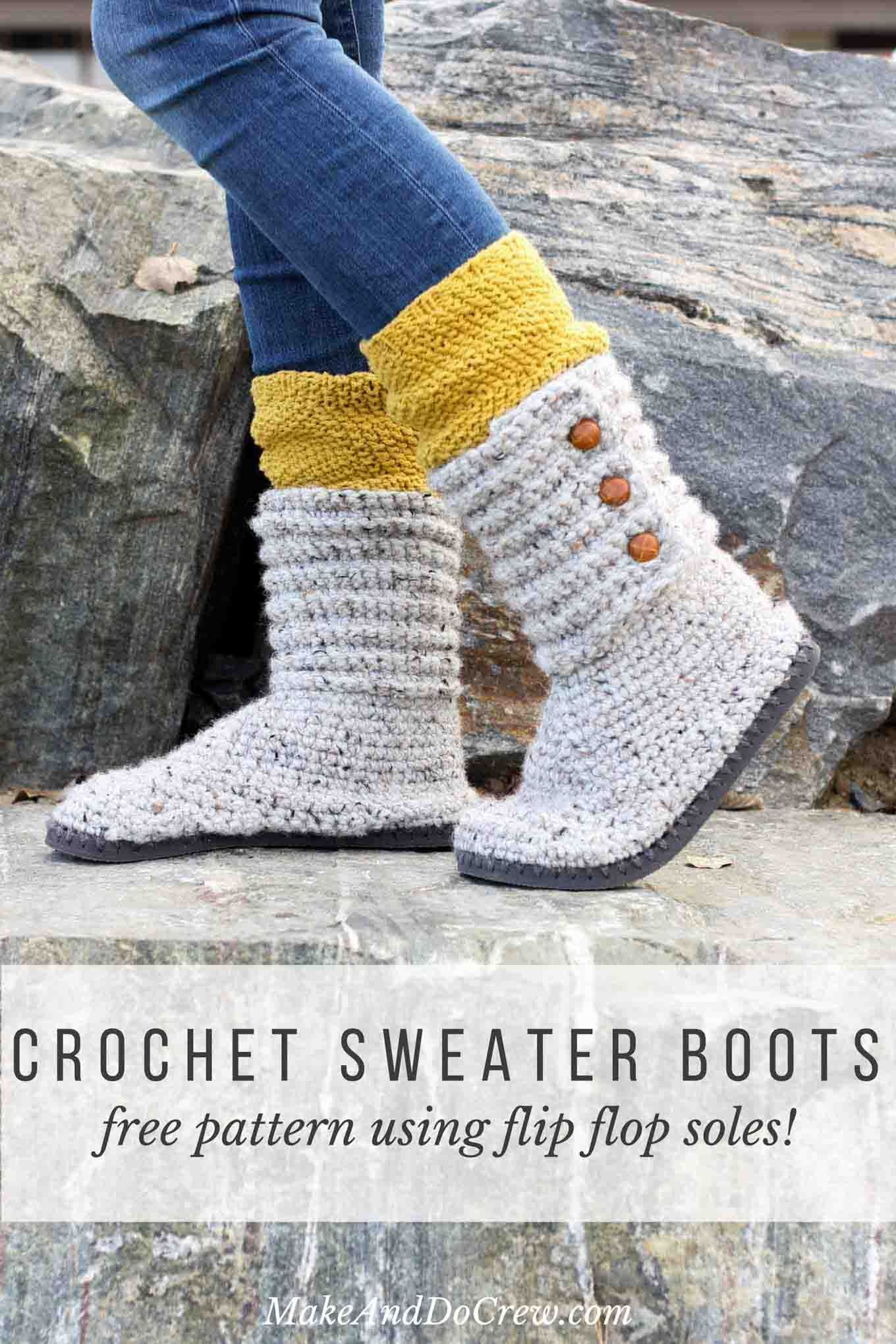 How to Crochet Boots with Flip Flops - Free Pattern + Video Tutorial ...