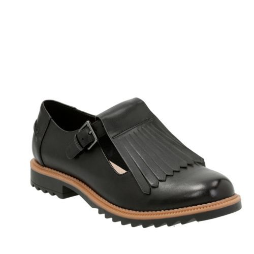 Femmes Clarks Griffin Mia Chaussures Cuir Noir nilgXY0Am7