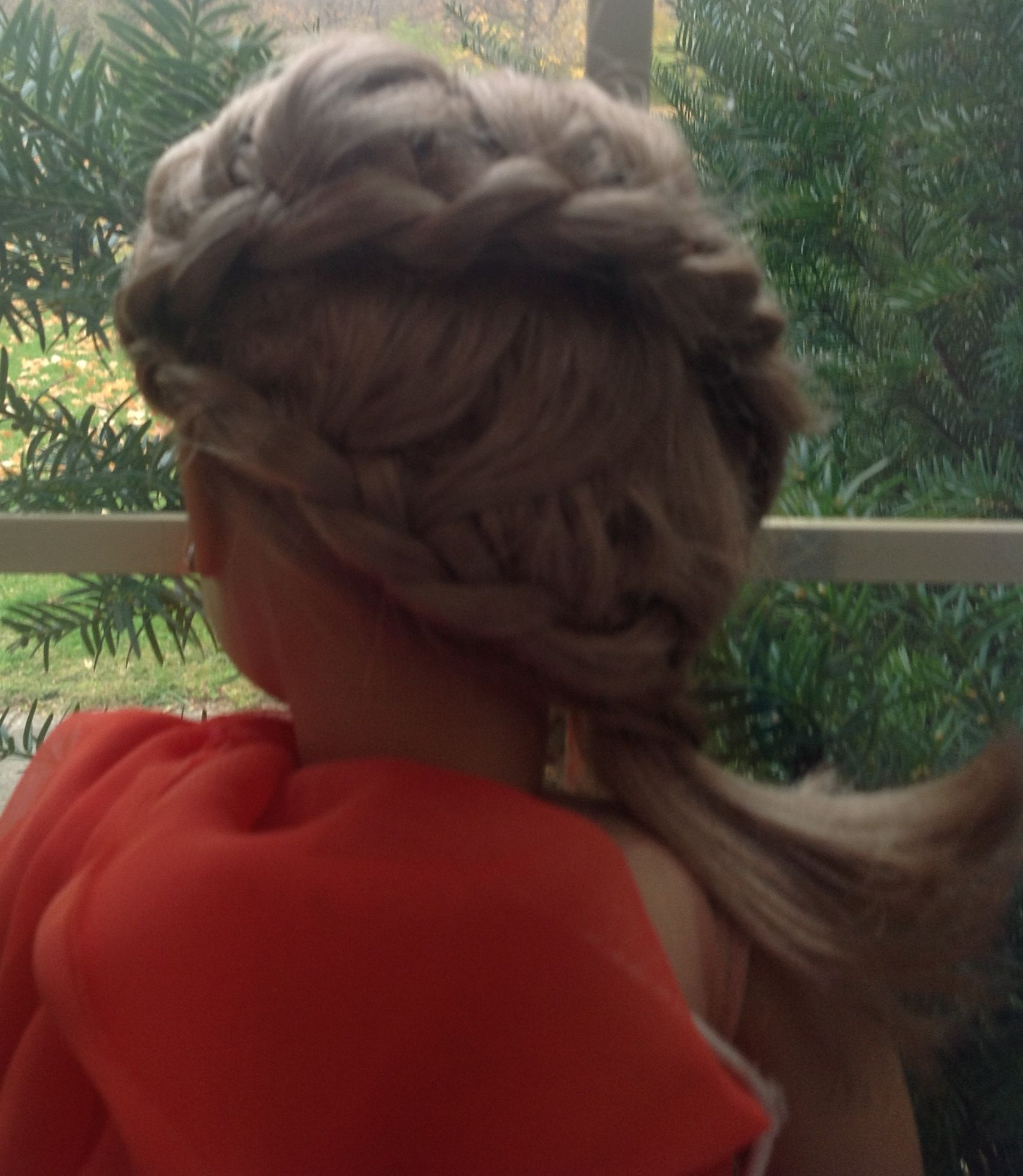 2 waterfall braides in a side ponytail! On Emma