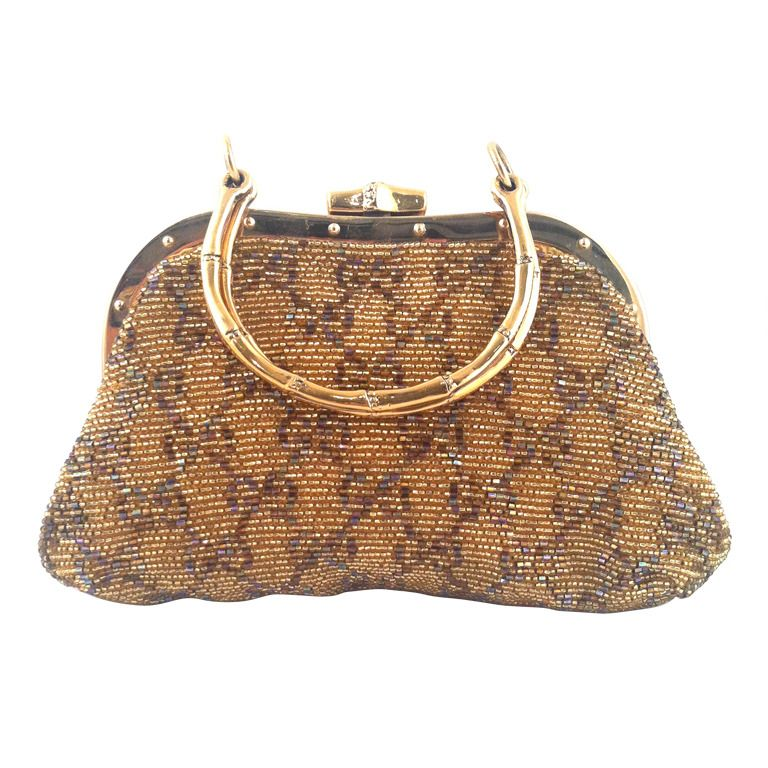 8df21044fd22 Gucci Beaded Evening Bag w/Bamboo Handle | From a collection of rare  vintage handbags