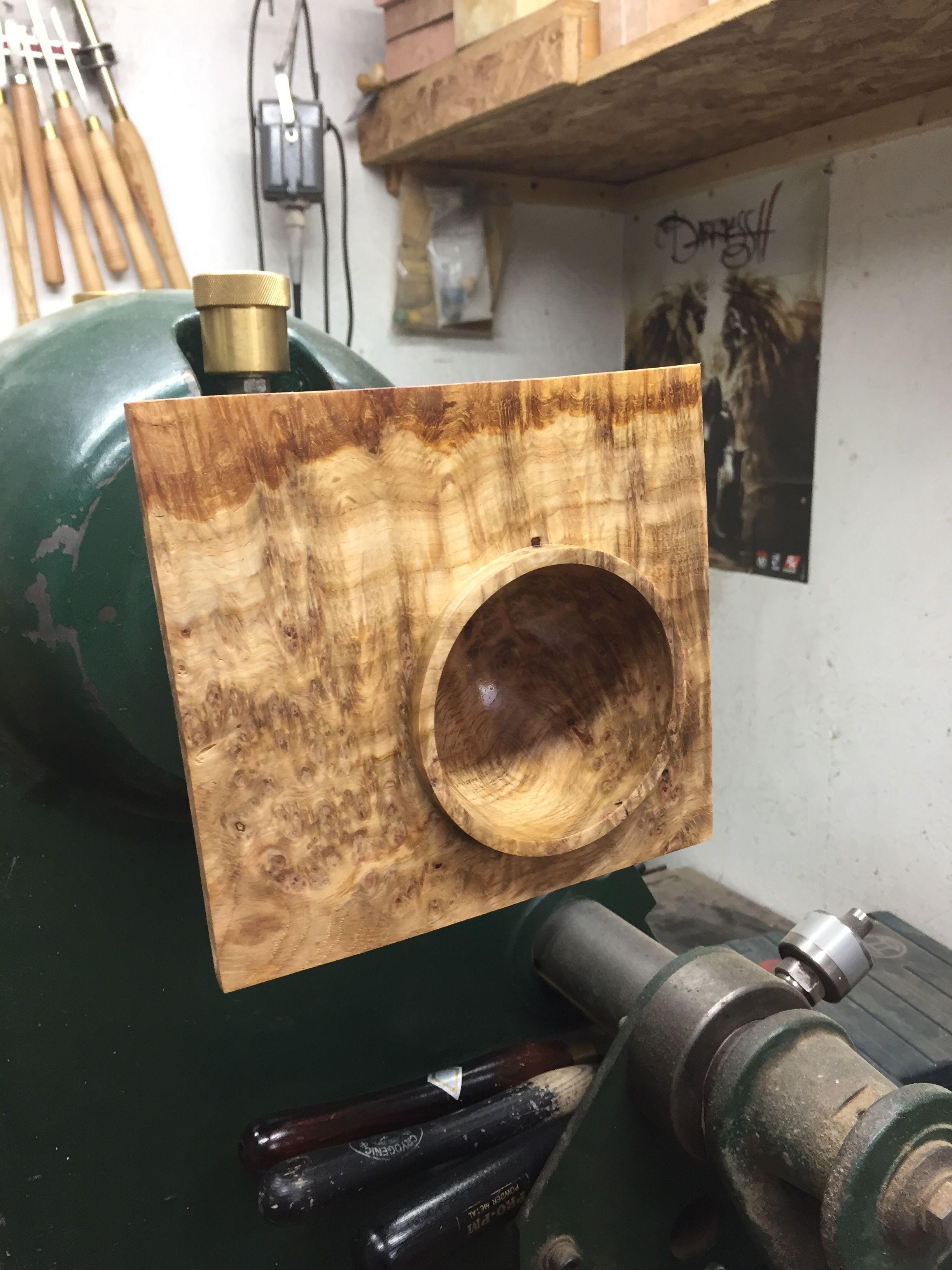 Off centre burr oak bowl