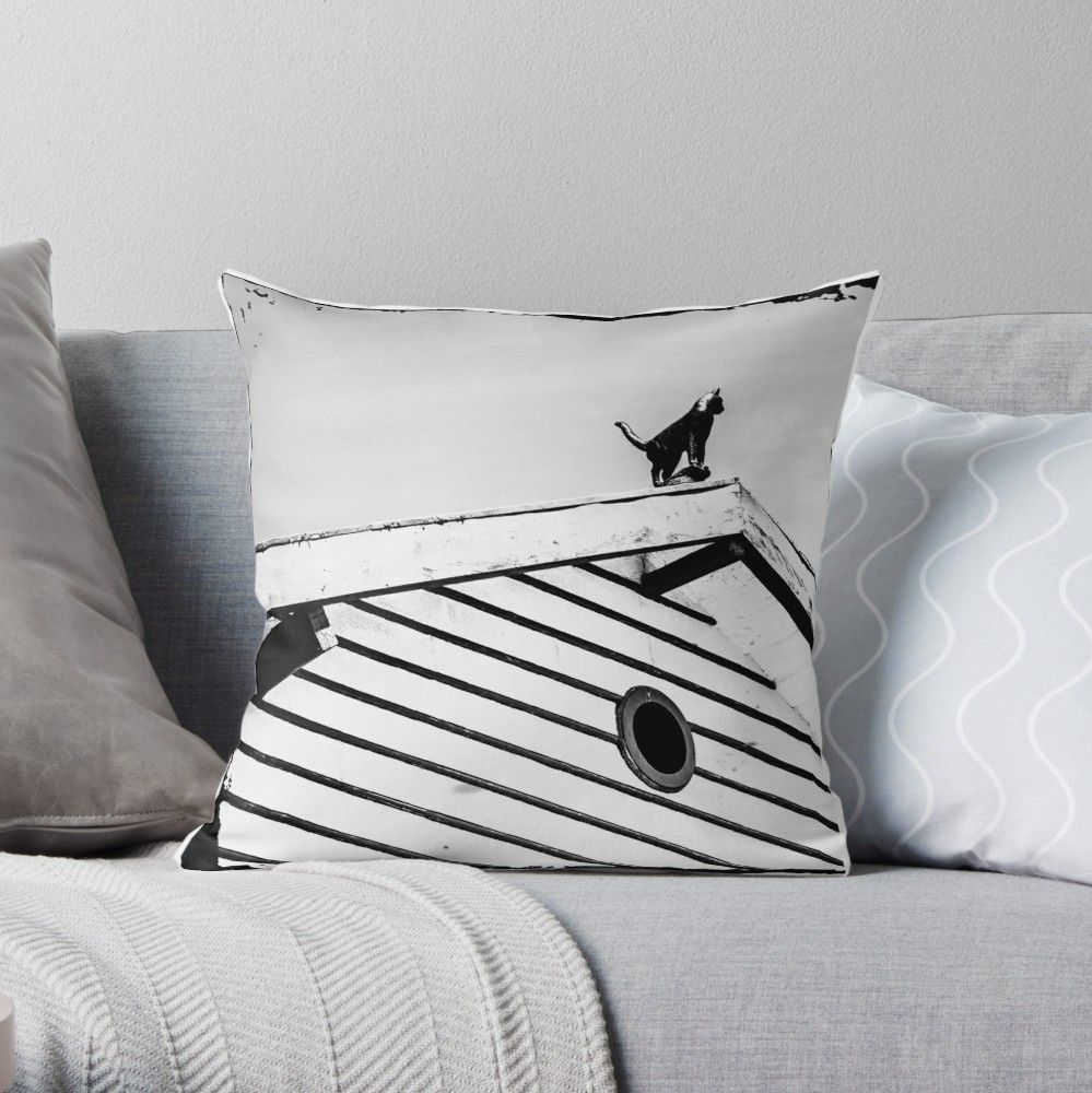Cat On A Roof Throw Pillow By Sofiaalves Throw Pillows Designer Throw Pillows Printed Throw Pillows