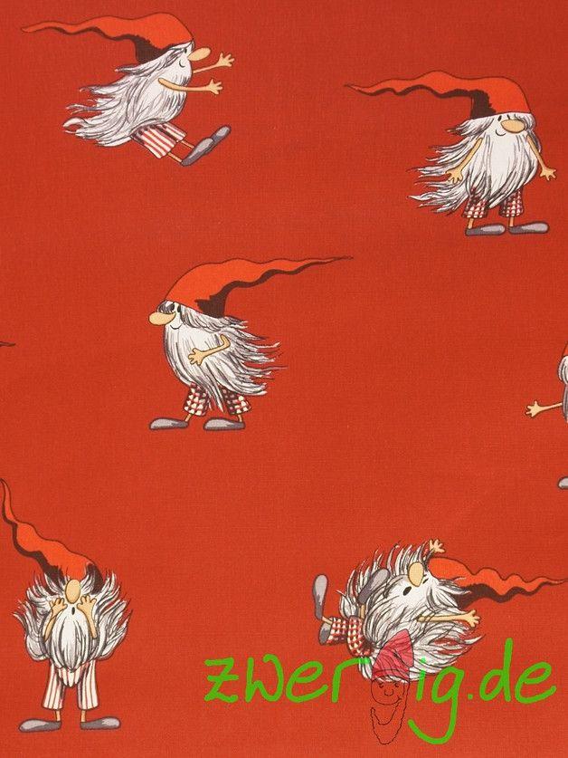 weihnachtsstoff wichtel auf rot arvidssons ein designerst ck von zwergigde bei dawanda. Black Bedroom Furniture Sets. Home Design Ideas