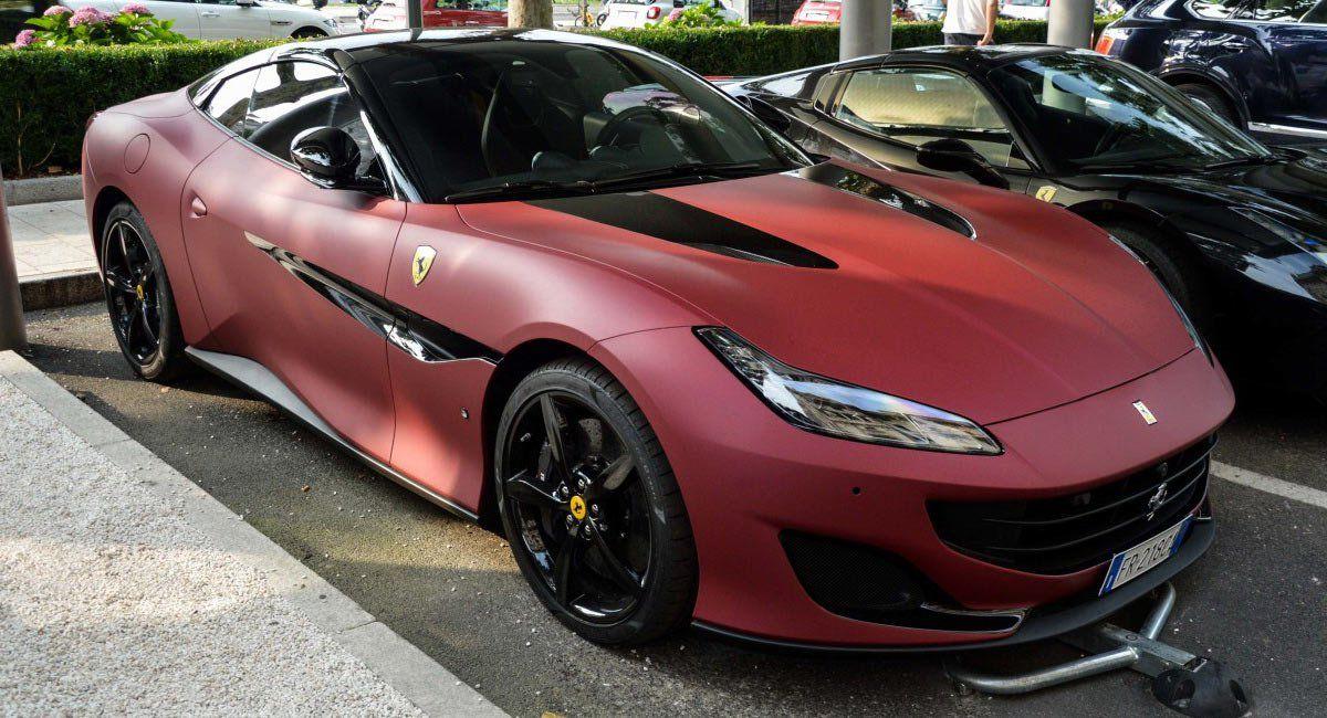 Ferrari Portofino Spotted With Matte Red Black Dual Tone Exterior