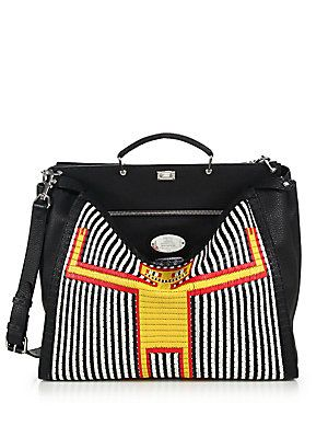 ccea66af7d64 Fendi Straw Monster Man Peekaboo Bag   Straw   Raffia
