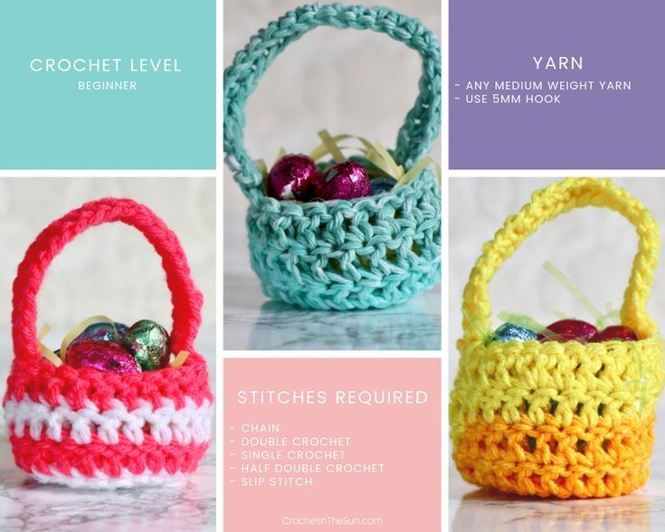 This easter basket crochet pattern is free, quick and easy, and adorable!