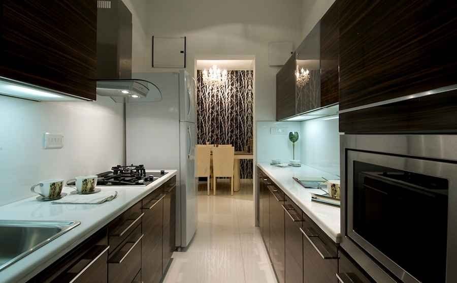 Modern kitchen with zebrano wood cabinets design by shahen mistry architect in mumbai Kitchen design mumbai pictures