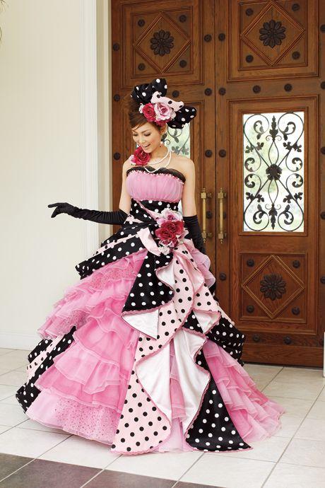 Moe Oshikiri in A Liliale Black Pink Wedding Dress | Weddings and ...