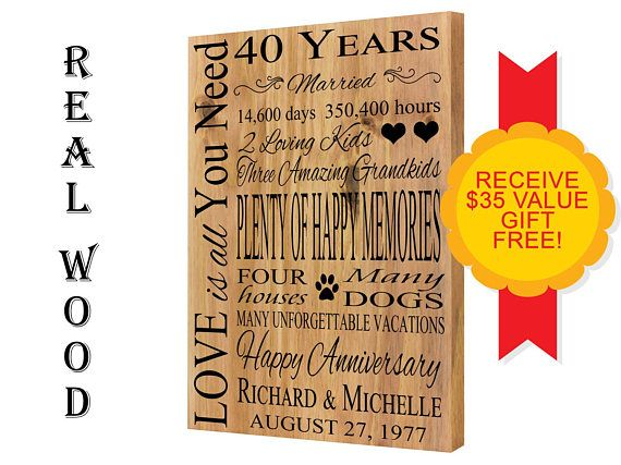 Ruby Wedding Gifts For Her: Ruby Anniversary, 40th Anniversary, Wedding Anniversary