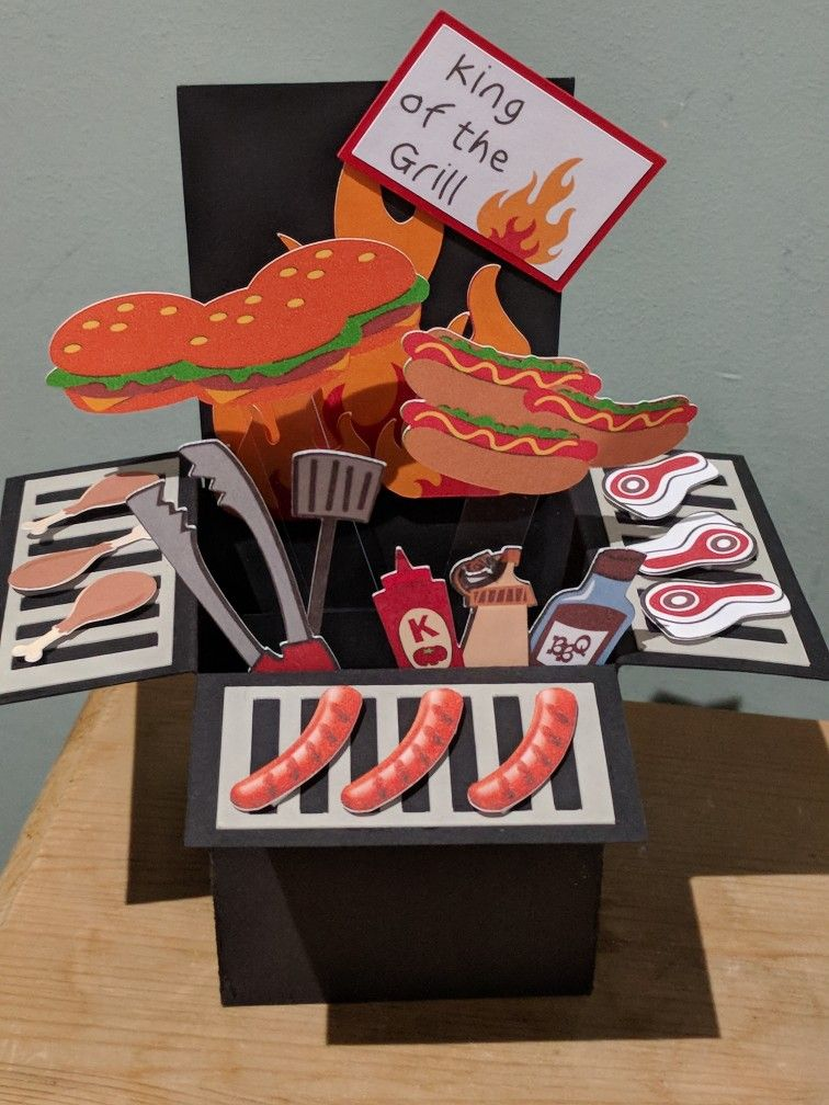 Bbq Pop Up Explosion Card Pop Up Box Cards Diy Father S Day