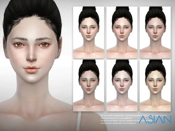The Sims Resource: Asian skintones 2.0 by S-Club • Sims 4 Downloads