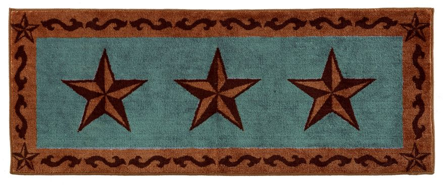 Rustic Star Turquoise Rug 24 X60
