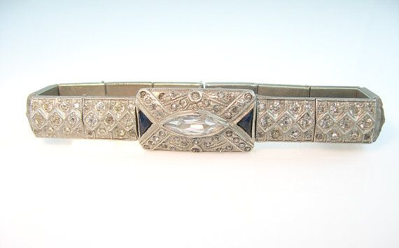 Art Deco Sapphire and Clear Rhinestone Bracelet by bohemiantrading, $165.00