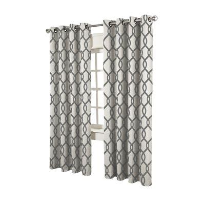 Design Decor Kochi 84 In L Blackout Geometric Black Pearl Thermal Grommet  Window Curtain Panel