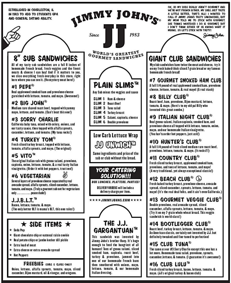 graphic regarding Jimmy Johns Printable Menu identify Jimmy Johns Printable Menu Www.researchpaperspot for Jimmy