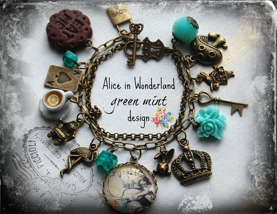 cabochon alice in wonderland jewelry bracelet vintage mint green design handmade gift. Black Bedroom Furniture Sets. Home Design Ideas