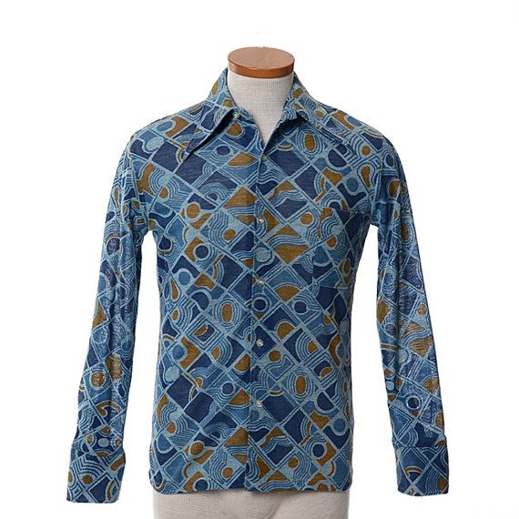 Vintage 1960's Men's Geometric Button Up Shirt Point Collar Mod Hipster Blue Orange L Juqq9BQ