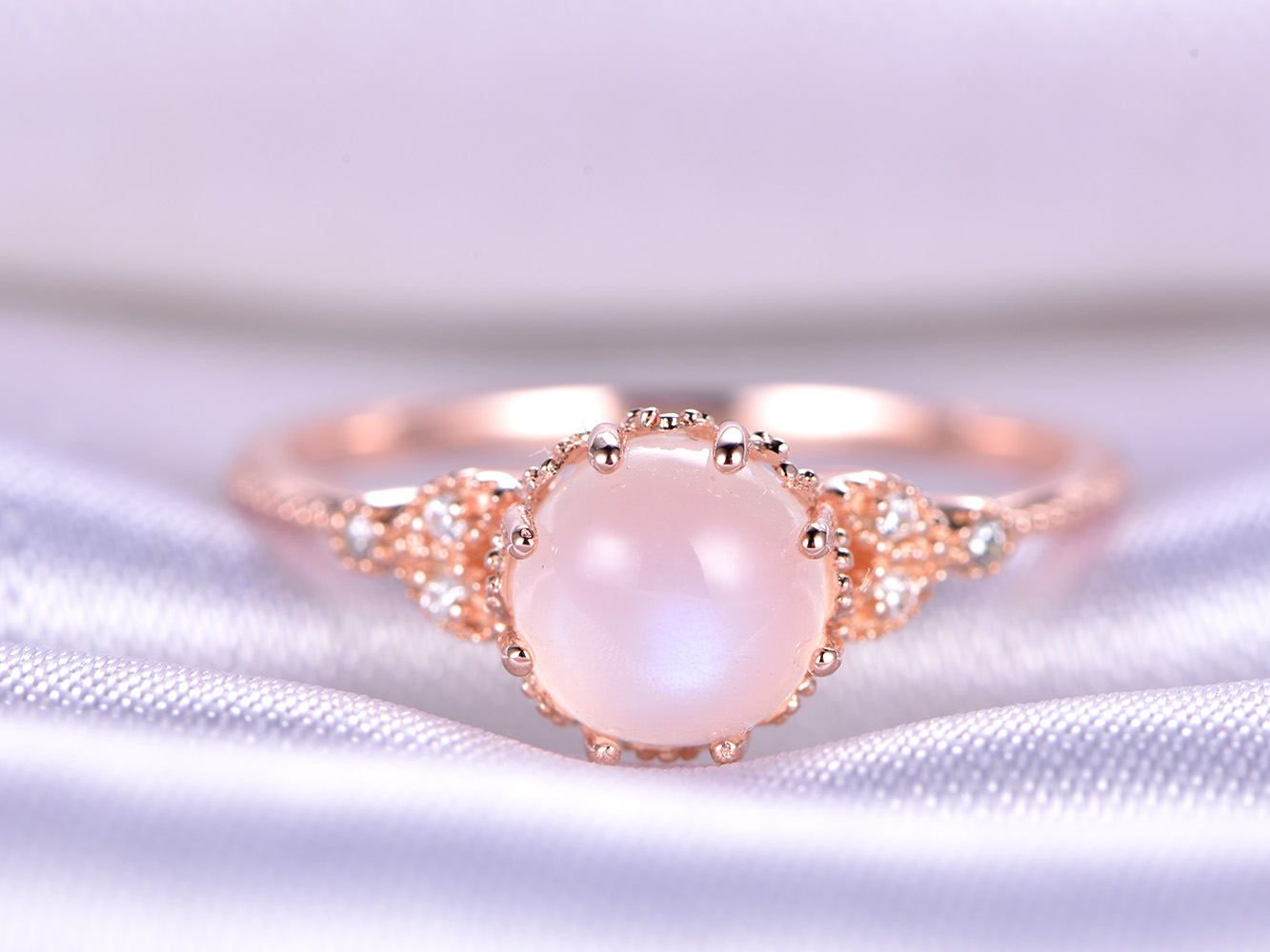 14k/18k Moonstone Ring Rainbow Moonstone Engagement Ring Diamond ...