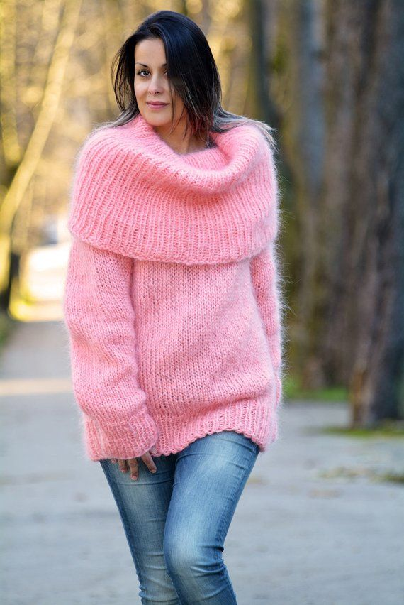 ad3f7e2e3 Designer Hand Knitted Mohair Sweater Pink Turtleneck Fuzzy Jumper ...