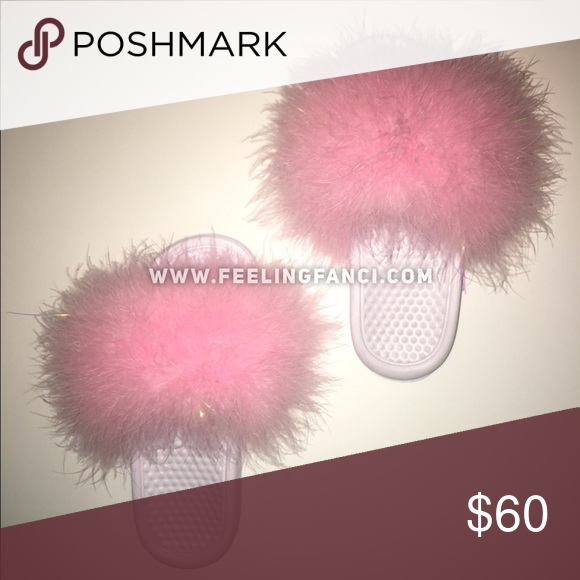 655d9129faf1 Fluffy pink faux fur slides