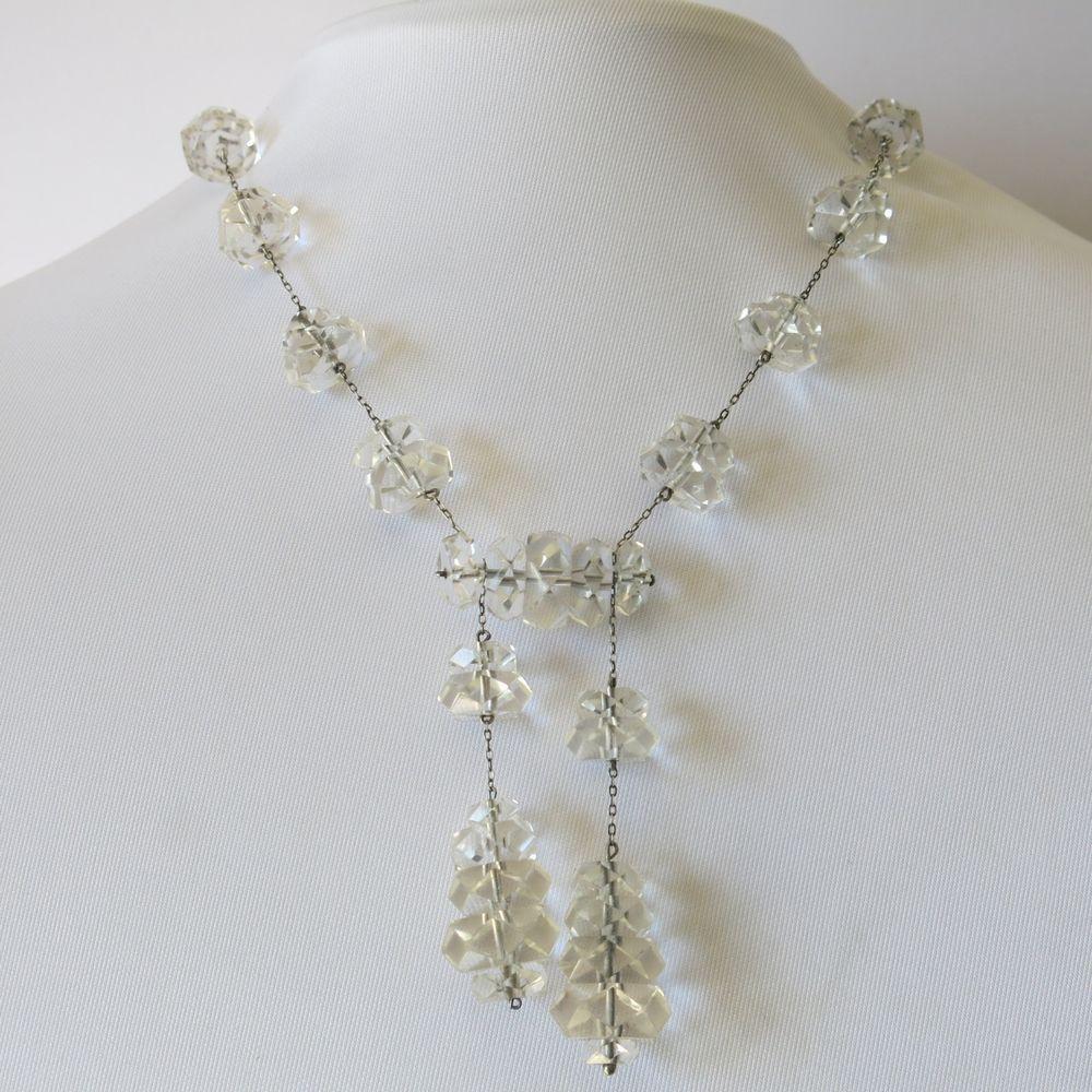 Vtg Art Deco Silver Natural Quartz Crystal Bead Negligee Necklace Earrings Set