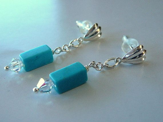 Simple Turquoise Dangle Earrings December Birthday Birthstone Healing Stone Free Shipping To Canada Usa