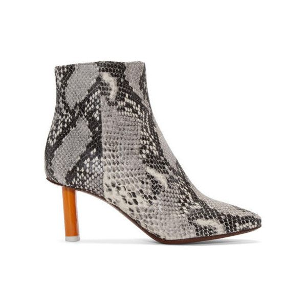 ae24f76b7470 Vetements Grey Snakeskin-Embossed Ankle Boots (34 955 UAH) ❤ liked on  Polyvore featuring shoes, boots, ankle booties, grey, gray ankle booties,  short boots ...