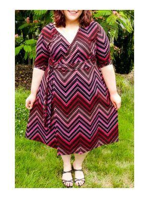 Fresh Style V-Neck Printed 3/4 Sleeve Midi Dress