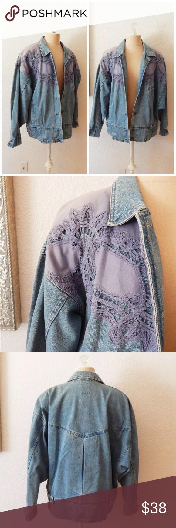 Vintage s hip hop lace denim jean jacket light denim denim