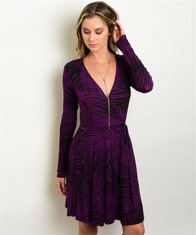 Purple & Black Wrap Dress