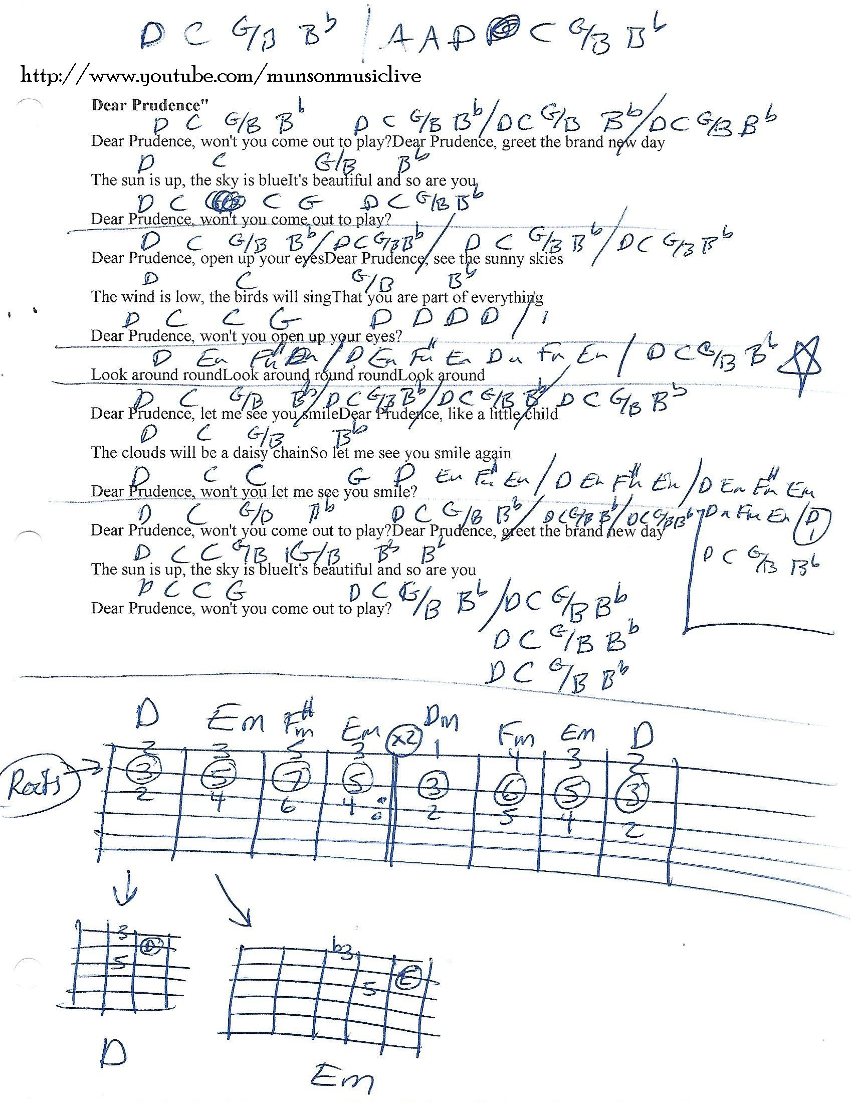 Dear Prudence The Beatles Guitar Chord Chart   Beatles guitar ...