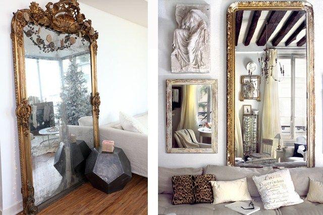inspirant grand miroir a poser par terre | Décoration française ...