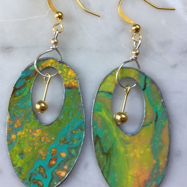 Oval Turquoise Earrings Acrylic Pour Jewelry 14K Gold Filled