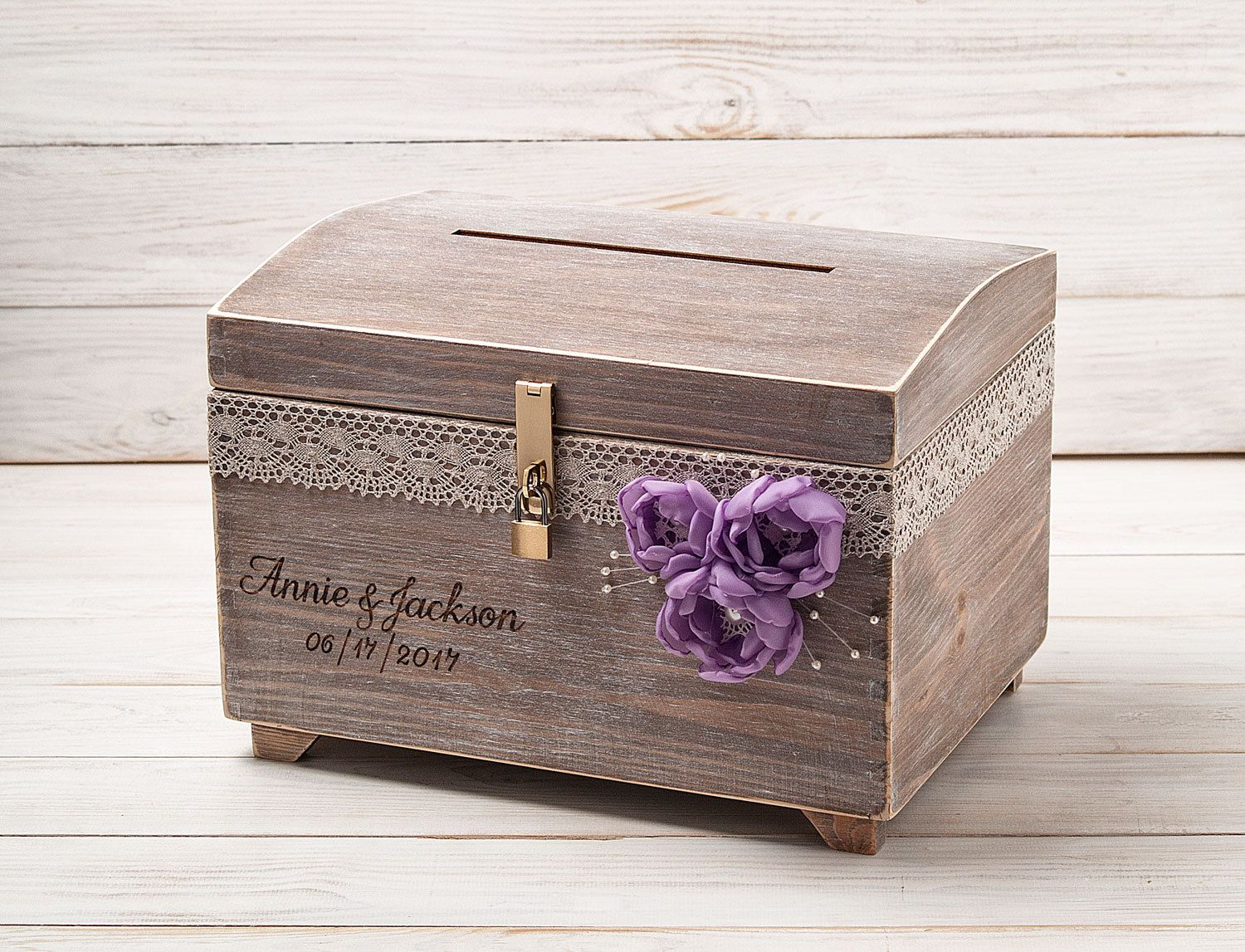 Large Wedding Card Box With A Lock And Key Keepsake Chest Custom Wooden Holder Lavender Rustic Reception Personalized By