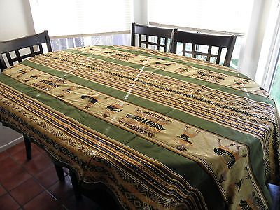 "90x50"" Peruvian WOVEN MANTA TABLE COVER ~ AGUAYO Ritual Motifs MANTO ~ Green"