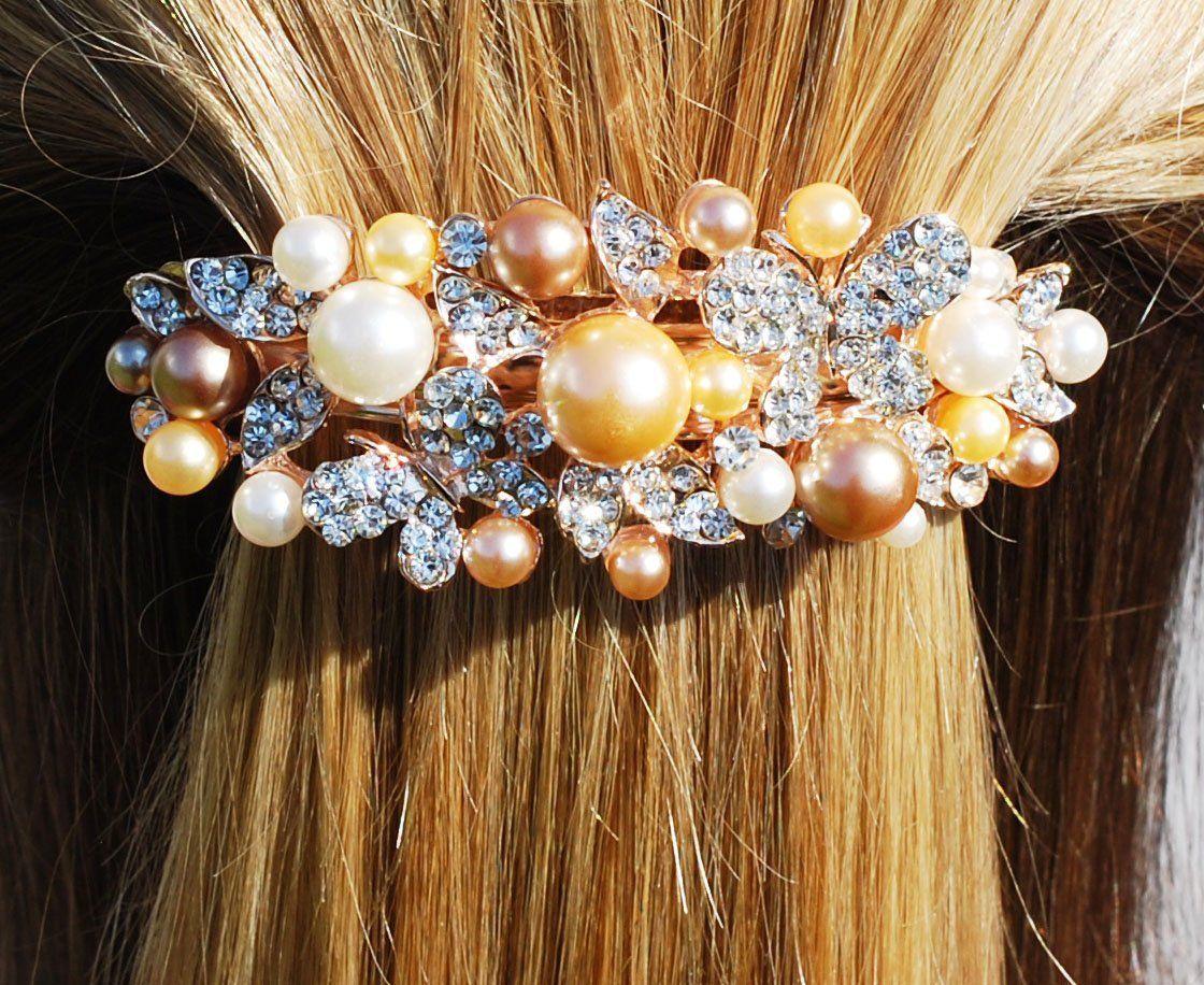 DIAMANTÉ RHINESTONE-PEARL BUTTERFLY HAIR CLIP-FLOWER GIRL-COMMUNION-BRIDESMAID