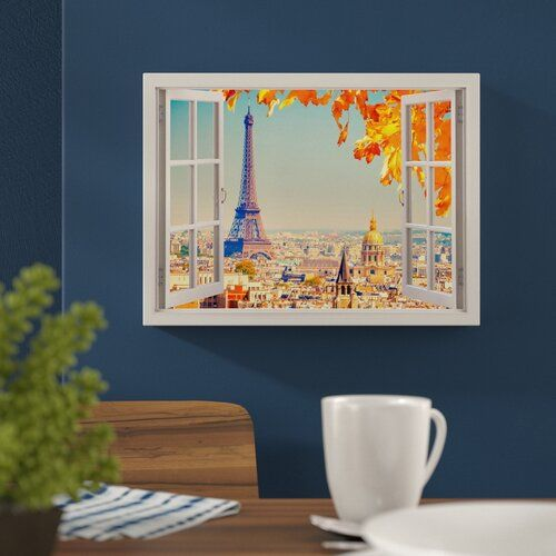 "Hokku Designs Leinwandbild ""Paris Eiffel Tower City View Window Bay Effect, Grafikdruck 