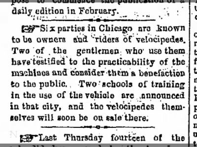 Two schools of training in the use of the vehicle are announced in that city [Chicago] 11 Jan 1869 1
