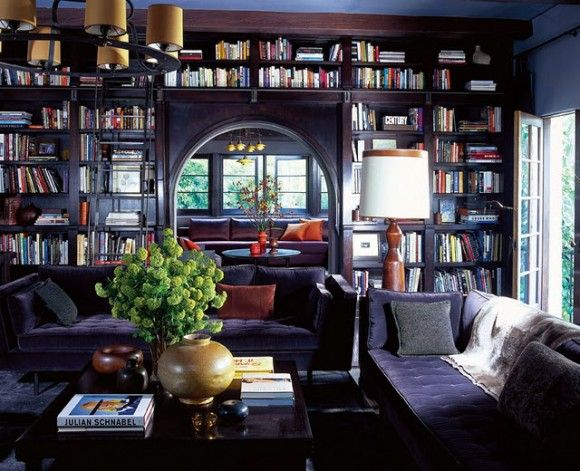 Modern Custom Home Library Design with Wooden Furniture : Classic ...